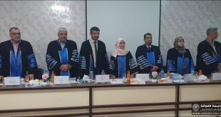 A teacher from the College of Engineering, University of Kufa, is chair of the discussion committee at Basra University