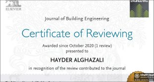 One of The International Publishing Houses awards a Scientific Reviewer Certificate to a Lecturer at the Faculty of Engineering, University of Kufa