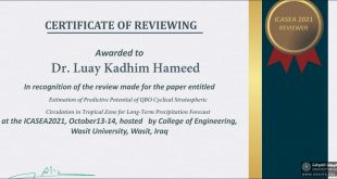 A Lecturer from the Faculty of Engineering, University of Kufa, as a Scientific Reviewer of the Third International Conference of The Faculty of Engineering, University of Wasit